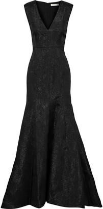 Halston Fluted Metallic Jacquard Gown