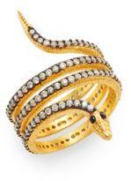 Azaara Two-Tone Pavé Snake Ring