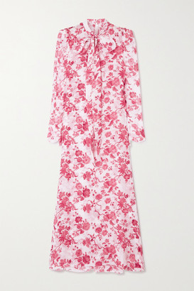 The Vampire's Wife The Unconditional Pussy-bow Floral-print Silk-chiffon Maxi Dress - Pink