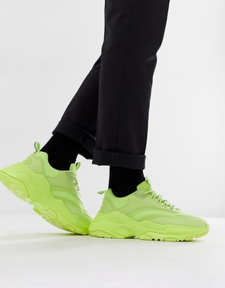 Asos Design DESIGN trainers in neon with chunky sole-Yellow
