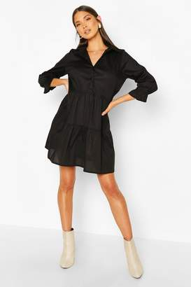 boohoo Short Sleeve Smock Shirt Dress