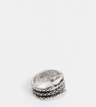 Reclaimed Vintage inspired snake ring in silver