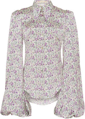 The Vampire's Wife Button-Front Floral-Print Satin Blouse