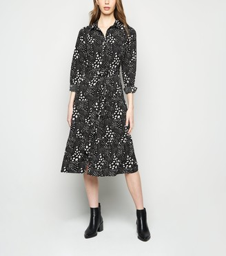 New Look Spot Belted Midi Shirt Dress