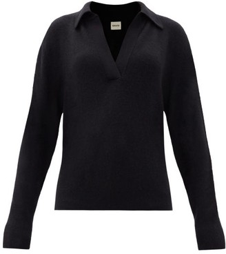 KHAITE Jo V-neck Knitted Cashmere-blend Sweater - Black