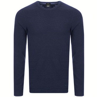 BOSS Long Sleeved Tempest T Shirt Navy