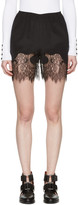 McQ by Alexander McQueen Black Fluid Lace Shorts