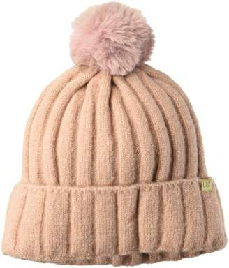 D&Y Women's David & Young's Lined Rib Knit Beanie with pom