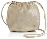 Halston Iconic Drawstring Small Metallic Suede Crossbody