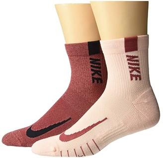 Nike Multiplier Running Ankle Socks 2-Pair Pack (Multicolor 14) Low Cut Socks Shoes