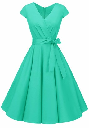 BeryLove Women's 1950s Vintage Pleated Rockbilly Dress Cap Sleeves Cocktail Party Swing Dress BLV8006TiffanyBlueL