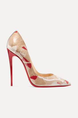 Christian Louboutin So Kate 120 Logo-print Pvc Pumps - Beige