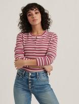 Lucky Brand Pink Stripe Henley Tee