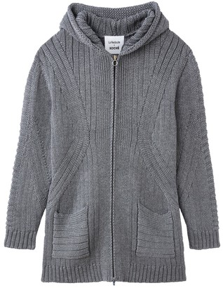 La Redoute Koché X Unisex Wool Mix Hooded Cardigan with Pockets