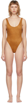 Reina Olga Tan Suede Funky One-Piece Swimsuit