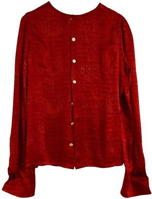 Jean Louis Scherrer Jean-louis Scherrer Red Silk Top for Women Vintage