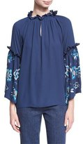 Josie Natori Silky Embroidered-Sleeve Peasant Blouse