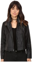 BB Dakota Leonce Textured Faux Leather Jacket w/ Removable Faux Fur Collar