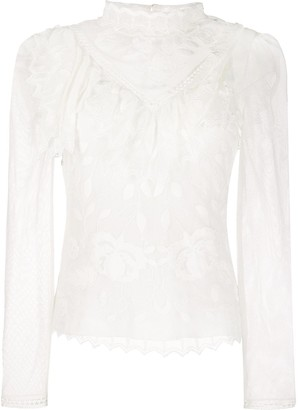 See by Chloe Funnel Neck Lace Blouse