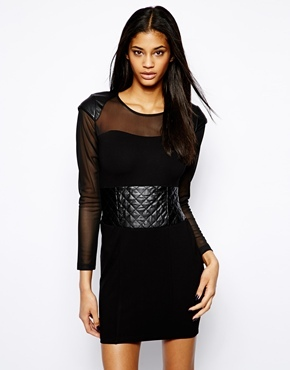 Forever Unique Selfish By Selfish by Body-Conscious Dress with Sheer Panels - Black