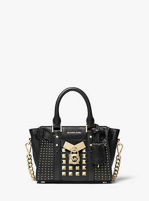 Michael Kors Nouveau Hamilton Extra-Small Studded Pebbled Leather Crossbody Bag