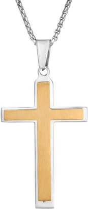 Lynx Stainless Steel Layered Two-Tone Cross Pendant - Men's
