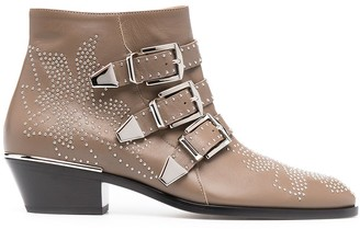 Chloé Studded Ankle Boots With Triple Buckle Detail