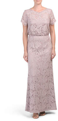 Short Sleeve Blouson Lace Gown