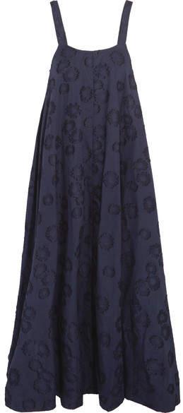 Co Cotton Fil Coupé Midi Dress - Navy
