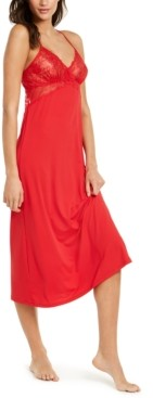 INC International Concepts Inc Lace Long Chemise Nightgown, Created for Macy's
