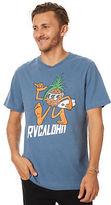 RVCA New Men's Pineapple Man Mens Tee Crew Neck Short Sleeve Cotton Blue