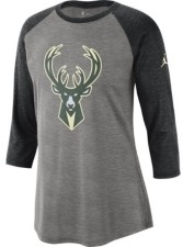 Jordan Milwaukee Bucks Women's Three Quarter Statement Raglan Shirt