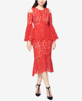 Fame and Partners Cold-Shoulder Lace Peplum Dress