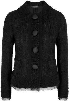 Dolce & Gabbana Black floral-appliqued tweed jacket