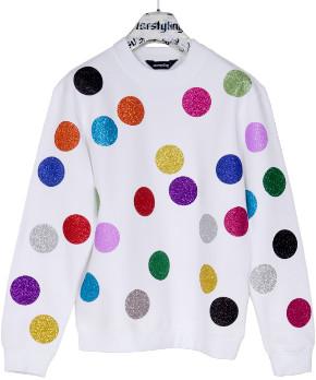 """starstyling - """"Glitter Balls"""" Sweater - Size XS - White/Blue/Red"""