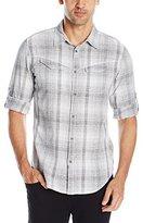 Calvin Klein Jeans Men's Slub Indigo Check Roll Tab Long Sleeve Button Down Shirt