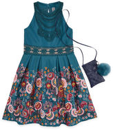 Knitworks Knit Works Floral Border Sleeveless Skater Dress w/ Purse- Girls' 7-16