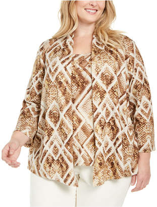 Alfred Dunner Plus Size Walnut Grove Python Diamond Layered-Look Necklace Top