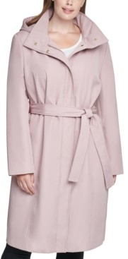 Calvin Klein Size Hooded Belted Raincoat
