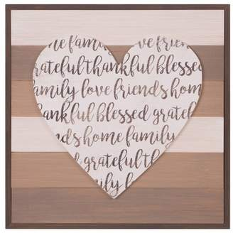"""Patton Wall Decor 18"""" x 18"""" Thankful Grateful Blessed Cut Out Heart Wood Plank Brown"""
