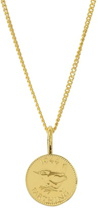 Katie Mullally English Farthing Coin Yellow Gold Plated Necklace