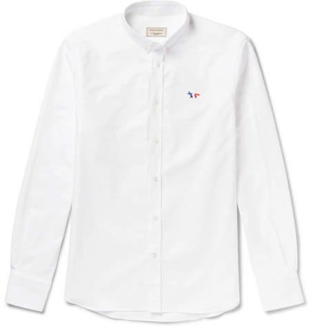 MAISON KITSUNÉ Slim-fit Button-down Collar Logo-appliqued Cotton Oxford Shirt - White