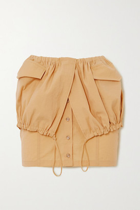 Jacquemus Cueillette Courte Layered Gathered Poplin Mini Skirt - Yellow