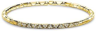 Pragnell 18kt yellow gold diamond Groove textured bangle bracelet