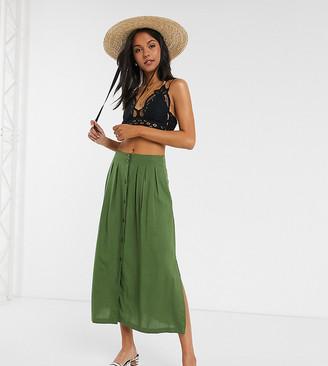 Asos DESIGN Tall button front midi skirt in khaki