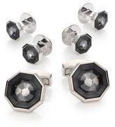 Tateossian Crystal Octagon Cuff Link & Shirt Stud Set