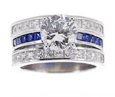 JCPenney FINE JEWELRY DiamonArt Cubic Zirconia & Lab-Created Blue Sapphire Bridal Ring and Guard