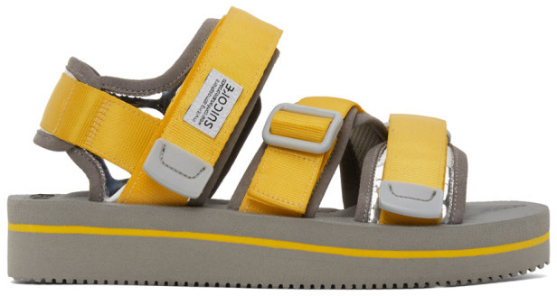 Suicoke Yellow and Grey Kisee-VEU3 Sandals
