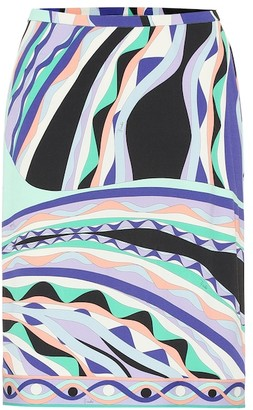 Emilio Pucci Printed silk-blend jersey skirt