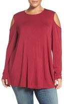 Bobeau Long Sleeve Cold Shoulder Top (Plus Size)